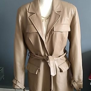 Pamela mccoy tan leather jacket size medium